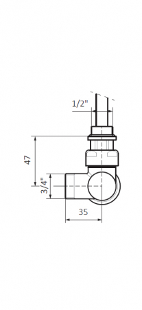 Изображение Вентиль інтегрований термостатичний з кутовою трубкою №2